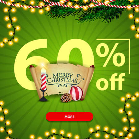 Christmas square green discount banner with Christmas candle, old parchment, Christmas ball and cone