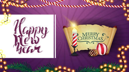 Happy New Year, purple postcard for your creativity with Christmas candle, old parchment, Christmas ball and cone