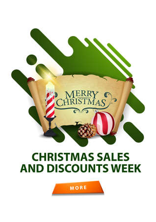 Christmas sales and discount week, modern white minimalistic discount banner with Christmas candle, old parchment, Christmas ball and cone Çizim