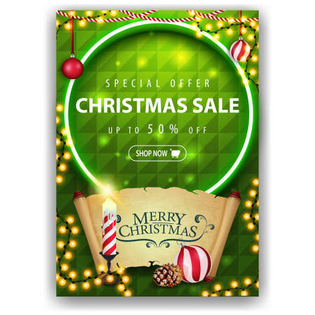 Special offer, Christmas sale, up to 50 off, green vertical discount banner with Christmas candle, old parchment, Christmas ball and cone