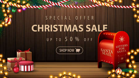 Special offer, Christmas sale, up to 50 off, discount banner with cozy interior with wooden wall, garland, presents and Santa letterbox Vektorgrafik