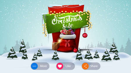 Christmas sale, banner for website with buttons and cartoon winter landscape