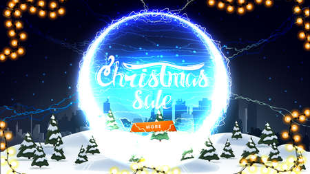 Christmas sale, discount banner with winter landscape, starry sky, button and round portal with lightning bolts and offer