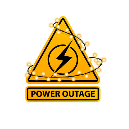 Power outage, yellow warning sign wrapped with a garland isolated on white background