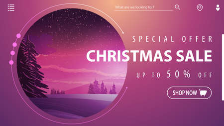Special offer, Christmas sale, up to 50 off, beautiful pink modern discount banner with winter landscape on background
