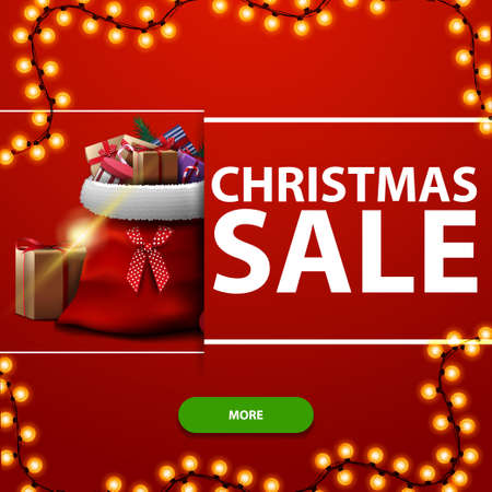 Christmas sale, red square discount banner with garland, green button and Santa Claus bag with presents Çizim