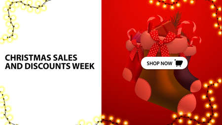 Christmas sales and discounts week, white and red discount banner with button and Christmas stockings Illusztráció