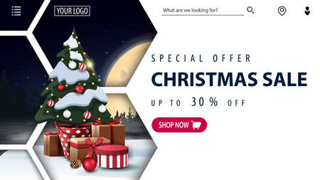 Special offer, Christmas sale, up to 30, white discount banner with winter night landscape, abstract honeycomb shapes, pink button and Christmas tree in a pot with gifts