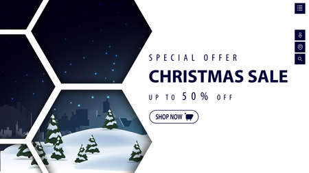 Special offer, Christmas sale, up to 50, white discount banner with winter night landscape and abstract honeycomb shapes 向量圖像