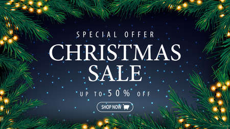 Special offer, Christmas sale, up to 50 off, blue discount banner with blue starry sky, large title and frame og Christmas tree branches and garlands
