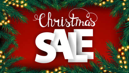 Christmas sale, red discount banner with large volumetric letters and frame of Christmas tree branches and garland
