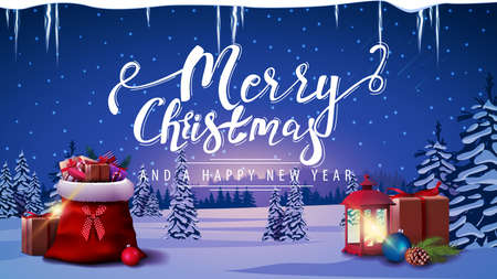 Merry Christmas and Happy New Year, postcard with Santa's gift bag, vintage lantern, icicles and winter landscape with snow-covered pines, hills on horizon, blue starry sky and snow-covered plains.