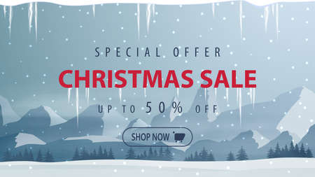 Special offer, Christmas sale, up to 50 off, discount banner with winter landscape with the forest at the foot of the high mountains on the horizon and snow-covered plains