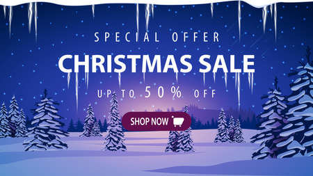 Special offer, Christmas sale, up to 50 off, discount banner with winter landscape with snow-covered pines, hills on horizon, blue starry sky and snow-covered plains.