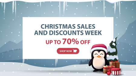 Christmas sales and discounts week, up to 70 off, discount banner with white paper sheet with offer, penguin in Santa Claus hat with presents and winter landscape on background