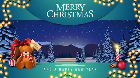 Merry Christmas and a happy New Year, greeting postcard with present with Teddy bear, candle and winter landscape with snow-covered pines, hills on horizon, blue starry sky and snow-covered plains.