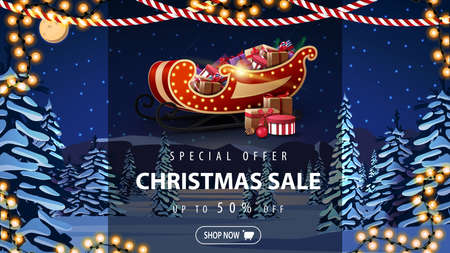 Special offer, Christmas sale, up to 50 off, discount banner with Santa Sleigh with presents, winter night landscape with pines, hills, blue starry sky and snow-covered plains.