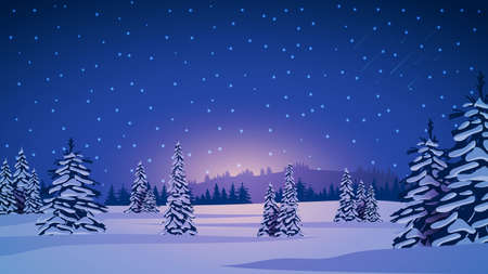 Winter landscape with snow-covered pines, hills on horizon, blue starry sky and snow-covered plains.
