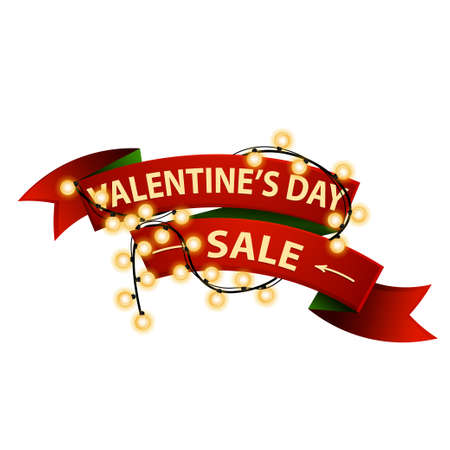 Valentine's day sale, shop now, red discount banner in form of ribbon wrapped with garland