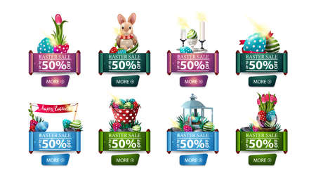 Easter sale, up to 50% off, large collection colorful of discount banners with Easter icons isolated on white background in the form of scrolls with buttons Çizim