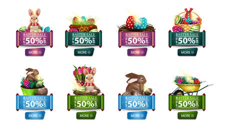Easter sale, up to 50% off, large set of discount banners with Easter icons isolated on white background in the form of scrolls with buttons Çizim