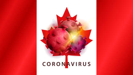 Coronavirus, warning sign on the background of the flag of Canada. Coronavirus 2019-nCoV. Sign of coronavirus COVID-2019 in Canada