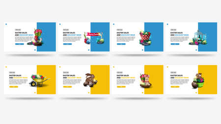 Easter sales and discount week, large set blue and yellow discounts banner in minimalism style with Easter icons and buttons. Simple stylish discount banner for website