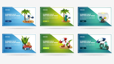 Summer sale and discount week, large set modern colorful discount banners with summer icons, copy space and buttons for your website. Green and blue summer discount banners in minimalistic design
