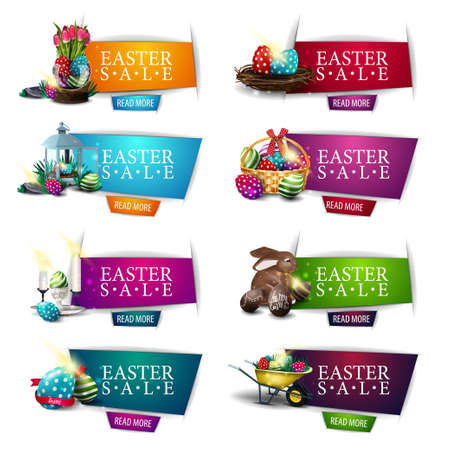 Easter sale, collection colorful discount banners with Easter symbols and buttons. Set discount banners isolated on white background in paper cut style 矢量图像
