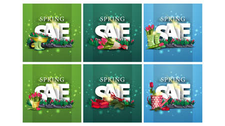 Spring sale, large set of spring square discount banners with large three-dimensional letters, a bed of tulips and spring icons