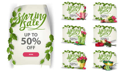 Spring sale, large set of discount banners with spring icons isolated on white background in the form of paper sheet