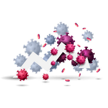 Large white arrow of the economic graph surrounded by coronavirus molecules isolated on a white background. Fall of the world economy, visualization