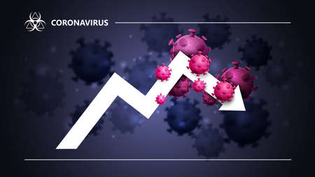 Black and blue banner with a large white arrow, a graph surrounded by coronavirus molecules. The fall of the economy due to coronavirus. Coronavirus economic impact background in black colors with modern design
