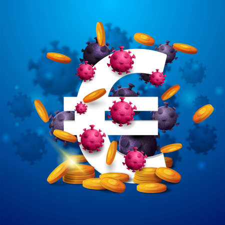 A three dimensional white euro sign with gold coins around and surrounded by coronavirus molecules on blue background