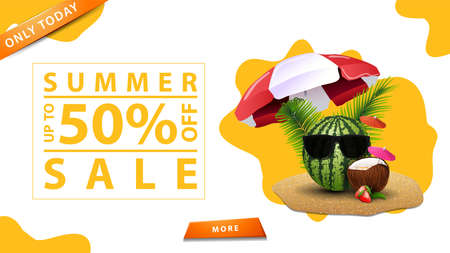 Only today, summer sale, up to 50% off, white discount web banner for your business with watermelon in sunglasses, button and liquid shapes on background