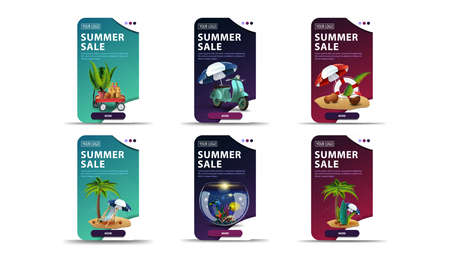 Big set of colorful vertical summer discount banners with summer icons. Green, blue and pink discount banners with summer elements and buttons for your website