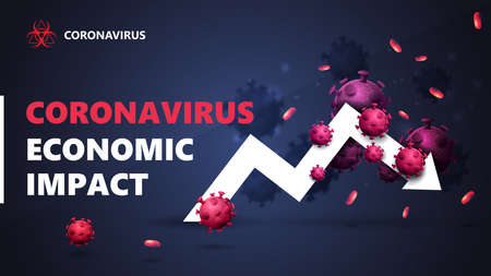 Coronavirus economic impact, black and blue banner with white arrow an economic graph surrounded by coronavirus molecules. The fall of the economy due to coronavirus. Coronavirus economic impact background in black colors with modern design