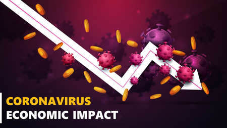 Coronavirus economic impact, black and pink banner with white arrow an falling economic graph with gold coins around and surrounded by coronavirus molecules. Çizim