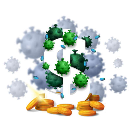 A three dimensional white dollar sign with gold coins around and surrounded by coronavirus molecules isolated on white background Çizim