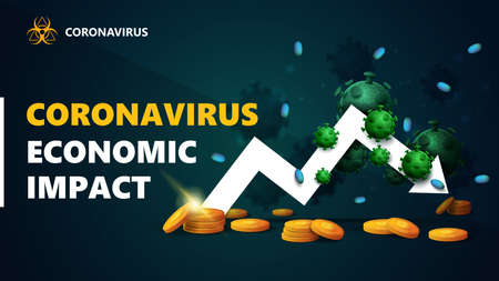 Coronavirus economic impact, black and green banner with white arrow an economic graph with gold coins around and surrounded by coronavirus molecules. Coronavirus economic impact background in black colors with modern design