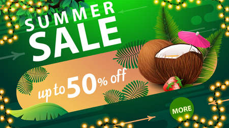 Summer sale, up to 50% off, green discount web banner for your website with frame of garland, tropical leafs and strawberry cocktail in coconut