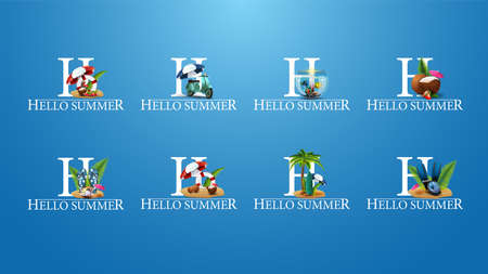 Hello summer, large collection summer titles with summer elements for your creativity. Signs for titles, banners, poster, coupons