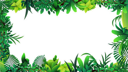A frame of tropical leaves around a white empty space. Layout of a frame made of tropical elements for your creativity