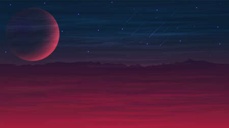 Mars purple, dark and blue space landscape with a large planet, starry sky, meteors and and hilly terrain on the horizon. Vectores