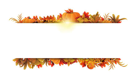 White frame of autumn leaves and autumn elements around a white empty space. Layout of a border made of autumn vegetation