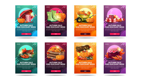 Autumn sale and discount week, large set of modern vertical discount banners with buttons and autumn elements. Green, orange, purple and pink autumn discount banners isolated on white background