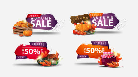 Today, autumn sale, -50% off, set of autumn discount web banners in abstract shapes with regged corners and autumn elements isolated on white background Stock Illustratie
