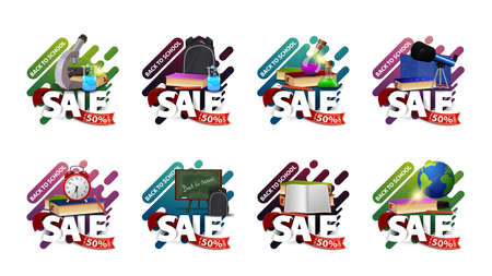 Back to school sale, up to 50% off, set of colorful discount banners in liquid shapes for your website with large title, red ribbon with offer and school supplies