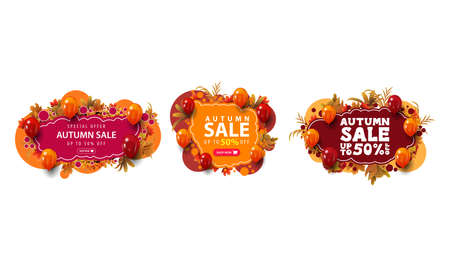 Set of colorful autumn discount web banners in graffiti style with large offer, button, frame of autumn leaves and balloons. Red and orange abstract banners isolated on white background 向量圖像