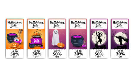 Halloween sale, set vertical bright discount banners with Halloween icons